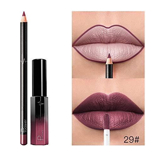 Set de Maquillage,Rouge Brillant à Lèvres Liquide Mat avec Crayon à lèvres Imperméable Bringbring