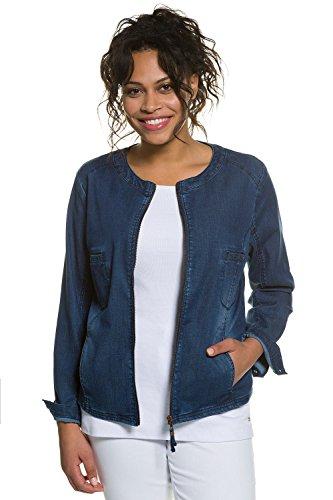 Ulla Popken Femme Grandes tailles Veste en Jeans en Coton Indémodable, Sexy et Chic - Manches longues - Femme Grande taille 706099 bleu foncé
