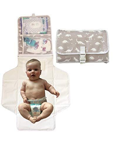 Tragbare Windel Wickelauflage - Dinosaurier - Reisen - leicht und sauber abwischen - Baby-Dusche-Geschenk - Baby Wickel - weiches Kissen - sichere Taschen