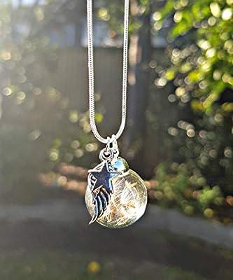 Cadeau de Noël Collier de pissenlit d'ange Chaîne en argent sterling Boite cadeau Pendentif étoile cadeau de sympathie bijoux de deuil