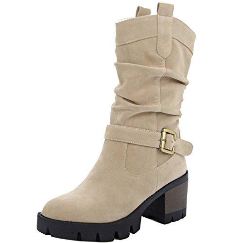 RAZAMAZA Femmes Slouch Boots A Enfiler Chunky Heel Bottes Plateforme Beige