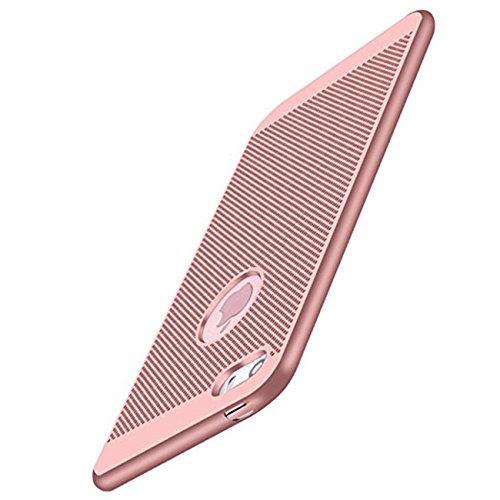 iPhone 5/5S/SE Hülle Ultra Dünn Mesh Design Wärmeableitung Stoßfest Hartcase Schutzhüllen für Apple iPhone SE 4.0 zoll (Rosagold)