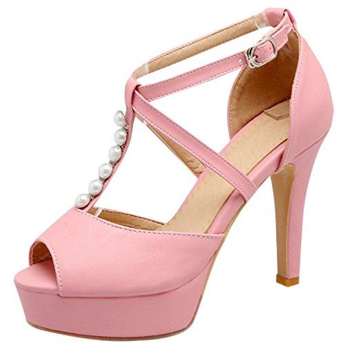 Oasap Women's Peep Toe Pearls T-strap Stiletto Heels Sandals Black