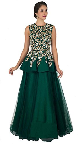 Queen of India Women\'s Taffeta Silk Embroidered Semi-Stitched Anarkali Gown (green)