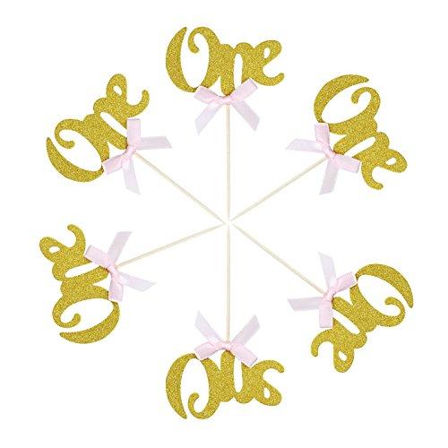 vlovelife 6Gold Glitzer Number One Tortenaufsatz Laser Cut Cupcake Topper mit Pink Ribbon Jahrestag Geburtstag Baby Dusche Party Dekorationen 6.5cm x 10.5cm gold (Gold Pink Dusche Und Baby)