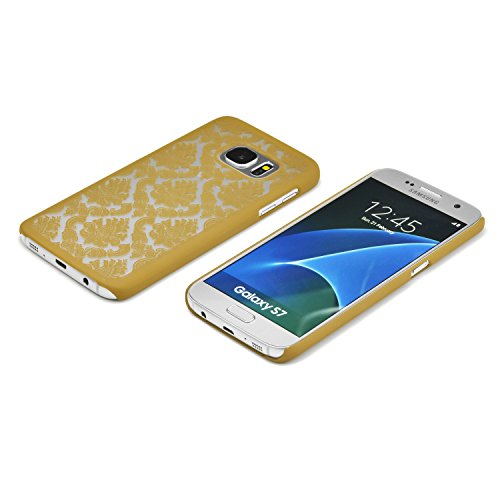iProtect Samsung Galaxy S7 Hard Case - transparent edles orientalisches Design in Weiss S7 Gold