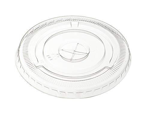 Kunststoff Flach Deckel mit Stroh-Steckplatz (durch bequeme Paket) Kristall klar PET für 12Oz gedrungene/16Oz/20oz/24Oz Cups [100Pack] (20 Oz-kunststoff-klar-cups)