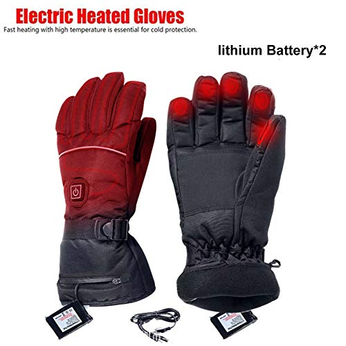 evergreemi Elektrisch beheizte Handschuhe, Männer Frauen Wasserbeständige, wiederaufladbare Thermohandschuhe mit Temperaturregulierung, zum Skifahren, Wandern, Klettern, Fahren bei kaltem Wetter