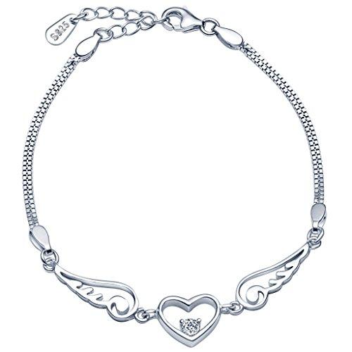 Unendlich U Fashion Herz Engelsflügel Damen Armband 925 Sterling Silber Armkette Verstellbar Charm Armkettchen Armreif, Silber