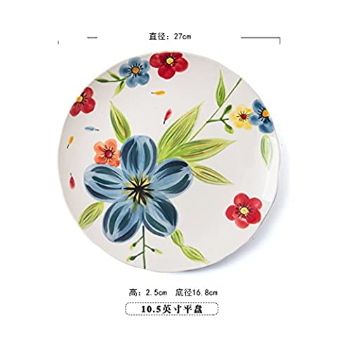 Hand-painted creative,western food plate/ceramic breakfast tray/dessert plate/ steak/[flat plate]-B