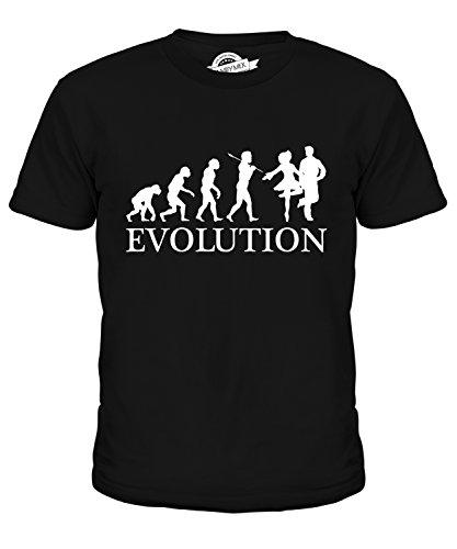 Candymix Irish Dance Evolution des Menschen Unisex Jungen Mädchen T Shirt, Größe 6 Jahre, Farbe Schwarz (Irish Dance Kleid Kostüm)
