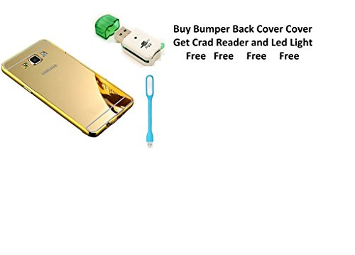 Mobiclonics® Combo Offer Get Free card Reader and Led with Extra Premium Mirror Back Cover For Samsung Galaxy Grand (Gold)
