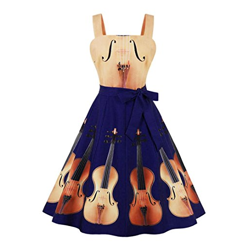 Kanpola Damen 1950 'Vintage Zipper Geige Printed Ärmellos A-Linie Camis Swing Partykleid (M, Gelb)