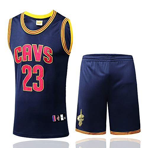 BUY-TO Lebron James Jersey 23 Cavaliers Basketball genähte Männer Shirt,Dark-Blue,S