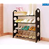 LookNSnap Multipurpose Foldable Shoe Rack Cabinet Organiser 4 Shelves, Black (Iron and Plastic)
