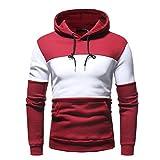 UJUNAOR Herren Mode Freizeit Oberteile Herbst Winter Langarm Patchwork Fleece Hooded Sweatshirt Outwear(Rot,2XL)