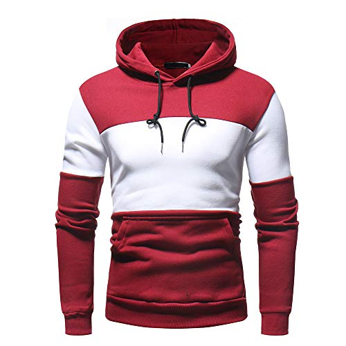 UJUNAOR Herren Mode Freizeit Oberteile Herbst Winter Langarm Patchwork Fleece Hooded Sweatshirt Outwear(Rot,2XL)