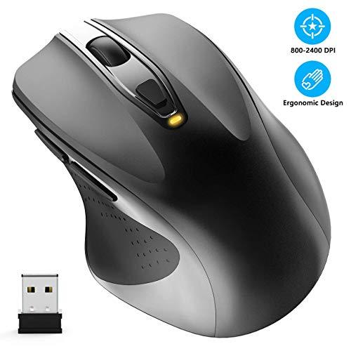 WisFox Kabellose Maus, 2,4 G in voller Größe Kabellose Computermaus ergonomische Maus 6 Tasten Laptop-Maus USB-Maus mit Nano-Empfänger 5-Level-DPI-einstellbare schnurlosedrahtlose Mäuse für Windows -