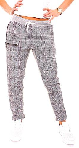 Damen Lounge Jersey Sweat Hose Karo Pepita Glencheck Sweathose Jogginghose Relaxpants Sporthose Lang Baumwolle Kariert Schwarz-Weiß S - 36