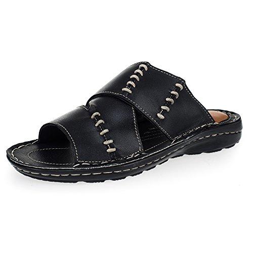 KS® - 168 - Sandalias para hombre - Ideales para verano - Cuero - Neg