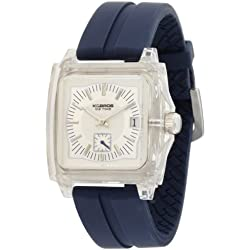 K & BROS Unisex 9405-2 Ice-Time Monaco Square Blue Silicon Uhr