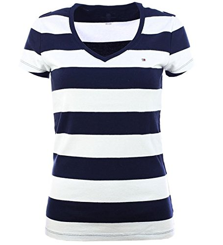 tommy-hilfiger-damen-t-shirt-shirt-v-ausschnitt-marine-grosse-m