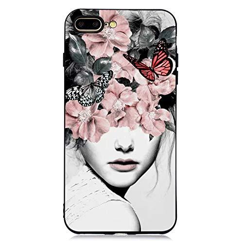 Bling Glitzer Transparent weich Hülle für iPhone 8 Plus iPhone 7 Plus,Kreative Klar Durchsichtiges Flexible Sparkle Quicksand Rückseite Case Cover Beschützer Haut Schale Schutzhülle -