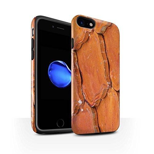 STUFF4 Glanz Harten Stoßfest Hülle / Case für Apple iPhone 7 / Pack 15pcs / Stein/Rock Kollektion Slate/Fliesen/Orange