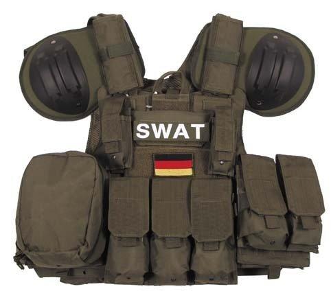 """Weste, """"Combat"""" diverse Taschen, schwarz, größenverstellbar Oliv"""