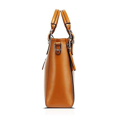 MeiliYH Borse a Mano in PU Pelle Fashion Borsa Shopping Borsa a Tracolla Grande Capacità Multifunzione Elegante Alta Qualità per Donna (Rosso) Arancione