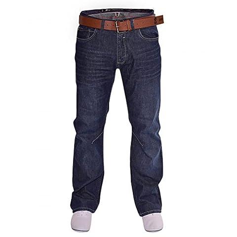Mens Crosshatch Bootcut Wide Bottom Hardwearing Fashion Denim Boot Cut