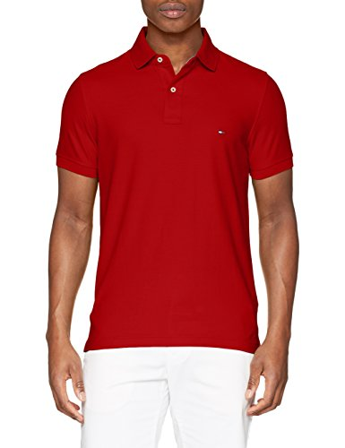 Tommy hilfiger slim, polo uomo, rosso (haute red 611), small