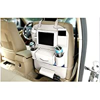 AIMMMY Car Back Seat Organizer, PU leather car back seat organizer waterproof seat back organizer with pockets for children 8 bottles Tissue Box Toy Car Organizer,White