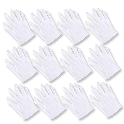 Baumwollhandschuhe, UEETEK 12 Paar Elastische Schutzhandschuhe für Catering / Gartenarbeit / Kostüm / Münzsammlung ETC, Weiß ,23 * 12 CM (L * ()