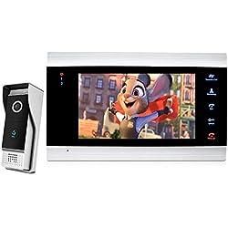 Hengta Système de Sonnette d'interphone vidéo Haut de Gamme Caméra Compatible, Bouton Tactile de 7 Pouces, Appel vidéo/Message/Surveillance Mobile/Vision Nocturne/déverrouillage à Un bouto