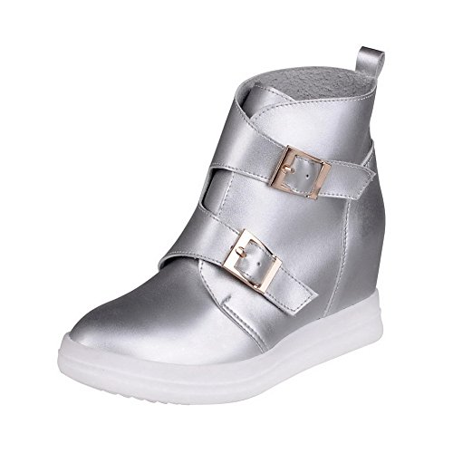 VogueZone009 Damen Spitz Zehe Knöchel Hohe Rein PU Leder Stiefel mit Metall Schnalle, Silber, 41