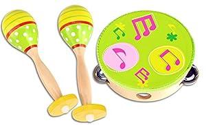 Bontempi-610510-Instrumento musical-maracas y pandereta música Set-Los Colores Pueden Variar , Modelos/colores Surtidos, 1 Unidad