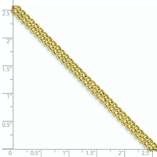 Or 14carats 2mm 3brins-Bracelet corde-Homard Griffe-Longueur Options: 1820
