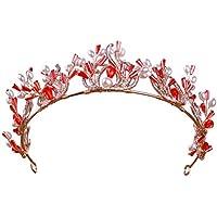 FENICAL Tiara nupcial hecha a mano perlas barroco rojo corona Headwear joyas accesorios para el cabello para bodas banquete de cumpleaños