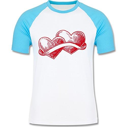 Romantisch - Doppelherz Liebe - zweifarbiges Baseballshirt für Männer Weiß/Türkis