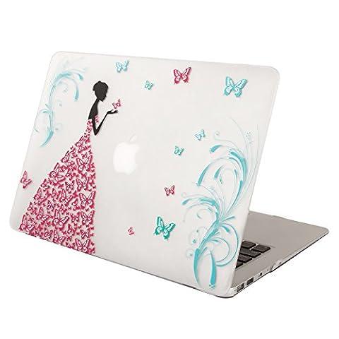 MOSISO MacBook Air 13 Hülle - Ultra Slim Plastik Hartschale Schutzhülle Snap Case für MacBook Air 13 Zoll (A1466 / A1369), Tanzen Schmetterling Mädch