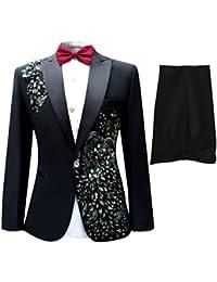 Cloudstyle Haut de costume deux-pièces une bouton veste+pantalon affaires décontraction mariage et animateur-rabattre collet