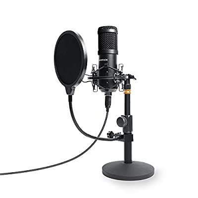 USB Podcast PC Microphone, SUDOTACK Professional 96KHZ/24Bit Studio Cardioid Condenser Mic Kit with Sound Card Desktop Stand Shock Mount Pop Filter, for Skype Youtuber Gaming Recording