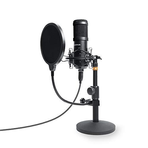 USB Mikrofon, SUDOTACK professionelles podcast mikrofon 96KHZ / 24Bit Studio Cardioid-Kondensatormikrofon-Kit mit Soundkarte Ständer Shock Mount Pop-Filter für Skype, Rundfunk, Youtube,Podcasts uvm