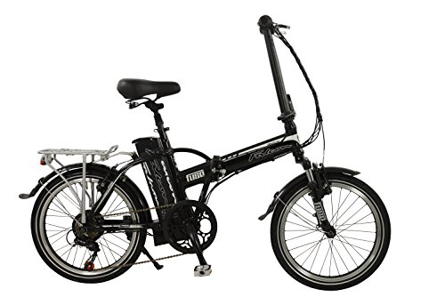Falcon Flux Unisex Electric Bike Black, 17″ inch aluminium frame, 6 speed zoom front suspension forks front and rear mudguards