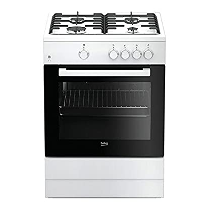 Beko FSG62000DWL – Cocina (Cocina independiente, Negro, Blanco, Giratorio, Frente, Encimera de gas, Butano/Propano)