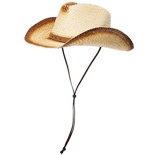 SIGGI unisex Cowboy Hüte Strohhut Formbare Krempe mit Kinnriemen beige