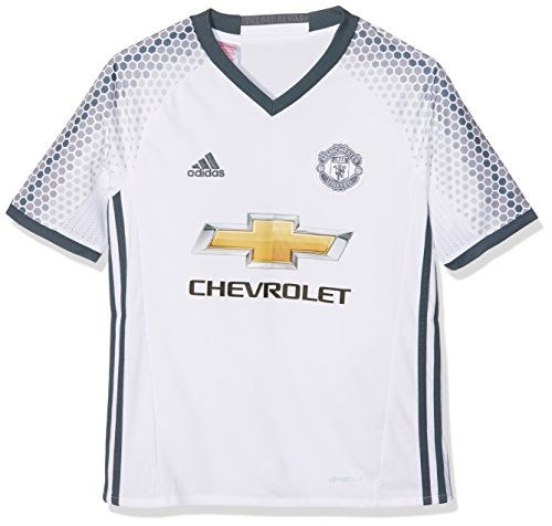 adidas Manchester United 3rd Jersey Youth, Maglietta Unisex Bambini, Bianco/Blu (Blanco/Onifue), 164