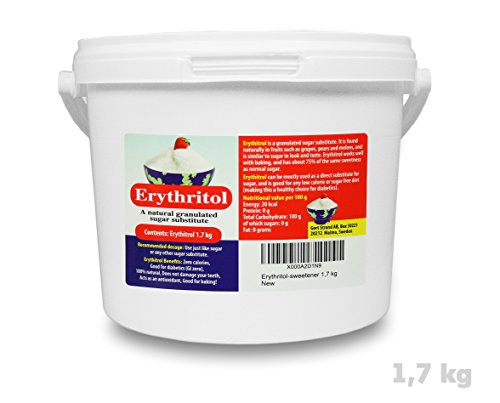 Erythritol - |Natural Granulated Sugar Substitute| - Sweetener 1,7 kg - Practical bucket with handle.