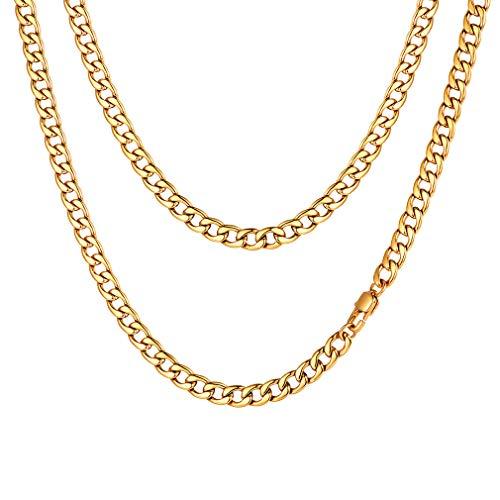 Klassische Herren Halskette 316L Edelstahl Gold Kette Farbe 50cm Jeans Kette, (5mm Breit)